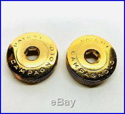 Campagnolo 24 KaratGold Plated Patent Crank Arm Dust Caps Nuovo / Super Record