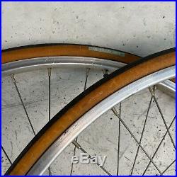 Campagnolo Nuovo Record High Flange / Mavic Clincher 27 Vintage Wheel Set 1974