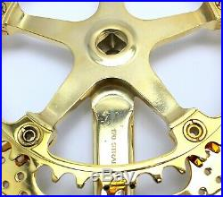 Race Bike Campagnolo SUPER RECORD Drilled CRANKSET CHAINSET GOLD PLATED 1982